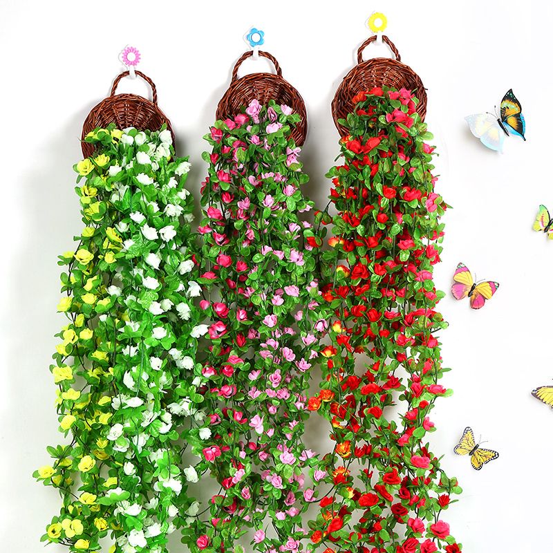 230cm Artificial Flower Plant Vines Wall Hanging Fake Leaves For Home Garden DIY Decoration Simulation Orchid Fake Flower Rattan