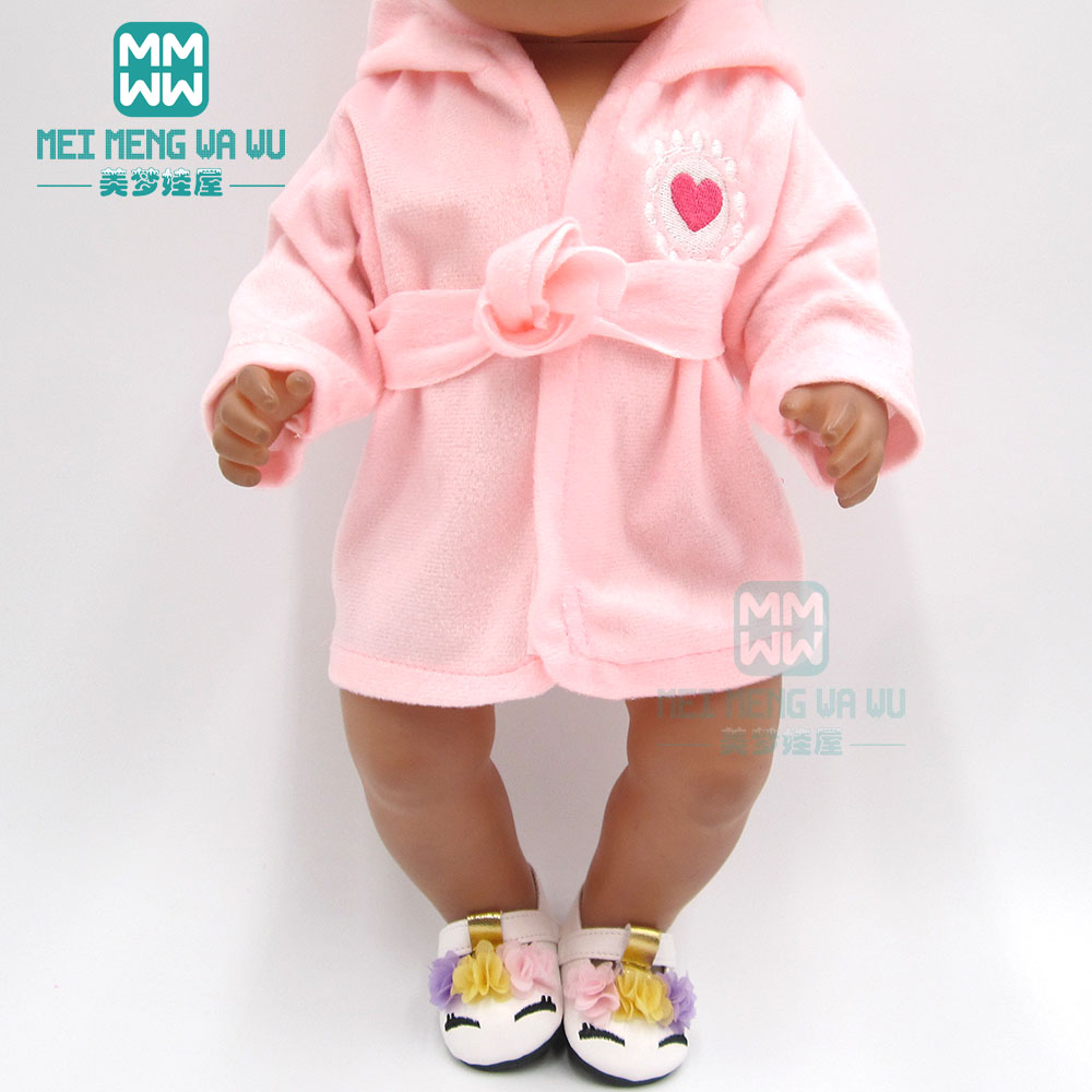 Clothes For Doll Fit 43cm Toy New Born Doll And American Doll Accessories Baby Pink Pajamas