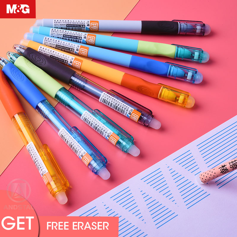 M&G Ergonomic Anti-bacterial Erasable Pen 0.5mm Gel Pen Erasable Pens Black Blue Ink With Eraser Gelpen School Supplies Andstal