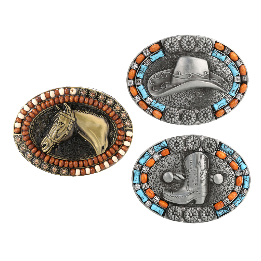 Classic Belt Buckle Western Cowboy Totem Beads Hunting Jeans Belt Accessory Horse Head Hat Picture Belt Buckle