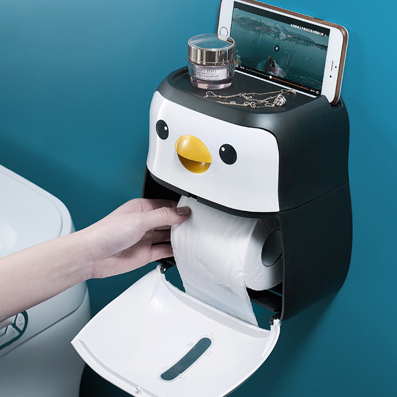 Portable Toilet Paper Holder Penguin Tissue Box Wall Mounted Roll Paper Shelf Bathroom Accessories set Waterproof Storage