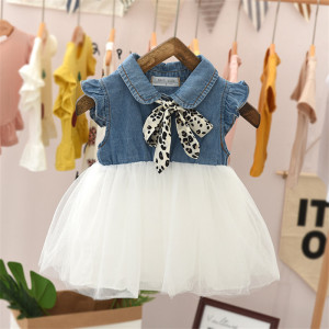 Girl Dress 2020 Kids Toddler Baby Girl Denim Tulle Short Sleeve Casual Party Princess Tutu Dress Princess Leopard Bow Mesh Dress(China)