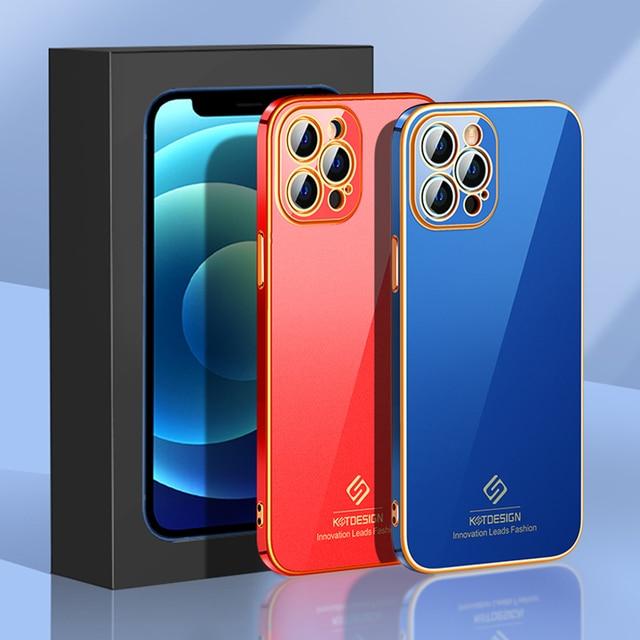 יוקרה אופנה עדשת הגנת סיליקון זהב ציפוי טלפון סלולרי מקרה עבור iPhone 12 11 פרו מקס מיני Fundas כיסוי Coque פגז