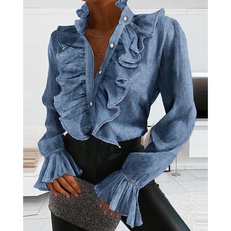 Women Elegant Ruffles Sexy V Neck Buttons Retro Denim Blue Long Sleeve Blouse Shirt Office Lady Spring Casual Slim Tops SJ5847M