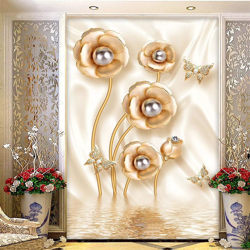 European Style 3D Luxury Golden Jewelry Rose Flower Wallpaper Living Room Hotel Background Wall Paper Home Decor Mural Wallpaper