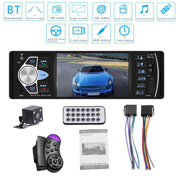 Universal Car Stereo Receiver 4.1Inch MP5 Player Card Automotive Radio 4022D With Rear View Camera Bluetooth Hands Free Radio image