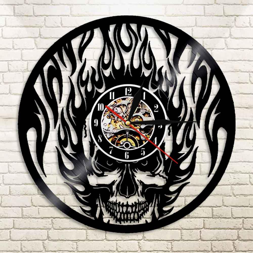Skull Head On Fire  Wall Clock Made Of Real Vinyl Record Fire Burning Skeleton Vintage Design Illuminated Watch Halloween Decor