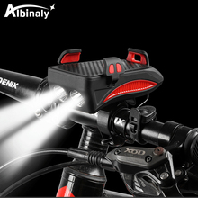 LED Bicycle Light Multifunction Bike Lamp 2000/4000mAh Power Bank Cycling Flashlight with Phone Holder Speaker 3 Mode USB Torch