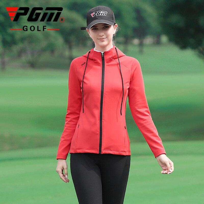 Pgm primavera nova jaqueta de esportes ao ar livre de golfe feminino manga longa com capuz macio, confortável, quente e à prova de frio