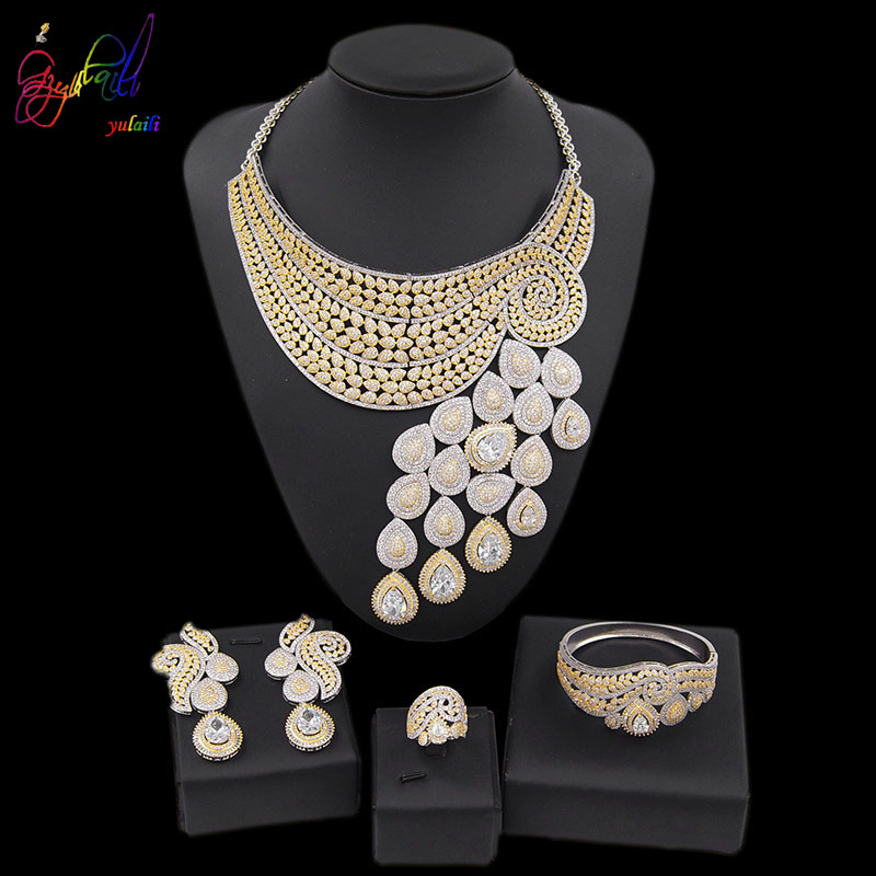 Luxury Crystal Necklace Bracelet Ring Earrings Wedding Bride Jewelry Set