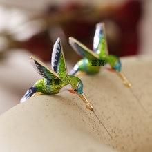 Новые стильные масляные серьги с рисунком летающего Колибри