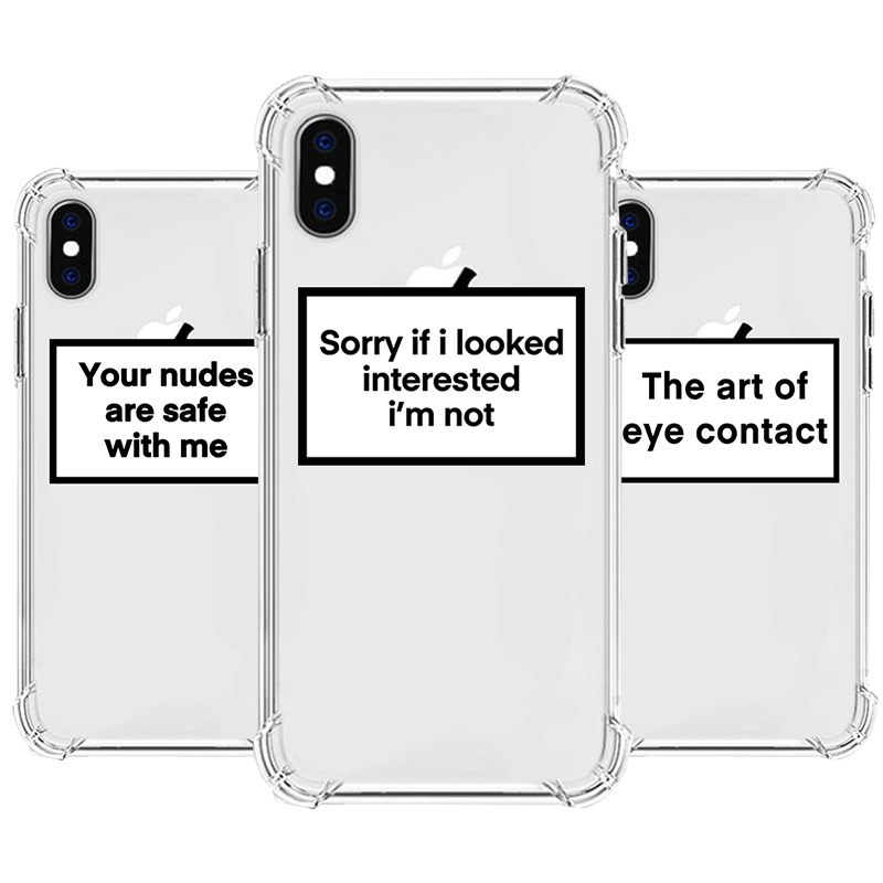 Funny Letters Heavy Duty Protection <font><b>Case</b></font> For <font><b>iPhone</b></font> 11 Pro <font><b>XS</b></font> Max <font><b>X</b></font> SE XR 6s 7 8 Plus Four Corner Strengthen Silicon Clear Cover image