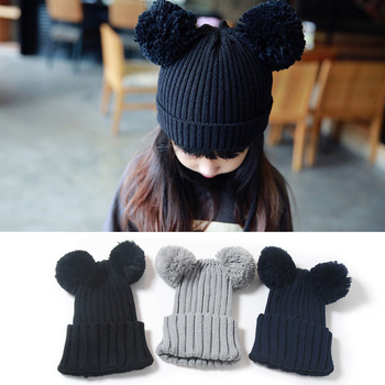 Winter Hats For Kid Knit Beanie Baby Hat Children Fur Pom Pom Hats For Girls Boys Crochet Cute Toddler Kids Warm Cap Hot 3 6t russia winter keeps warm snow kids girls clothes big fur hats down romper girls catsuit outdoor overalls for boy kids