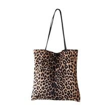 Leopard Print Shoulder Tote Bag Vintage Fashion Simple Canvas Shoulder Bags Handbags Large Storage Handbag Hand Bag For Women casual women s tote bag with leopard print and canvas design