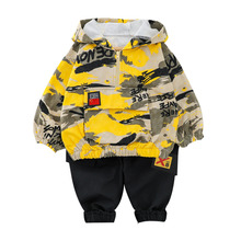 2018 new kids baby girl boy 2 4y outwear fur hooded coat ski snow suit jacket bib pants overalls 30 degree down clothes New Spring Autumn Baby Girl Clothes Suit Children Boy Cotton Hooded Jacket Pants 2Pcs/set Toddler Fashion Costume Kids Tracksuit