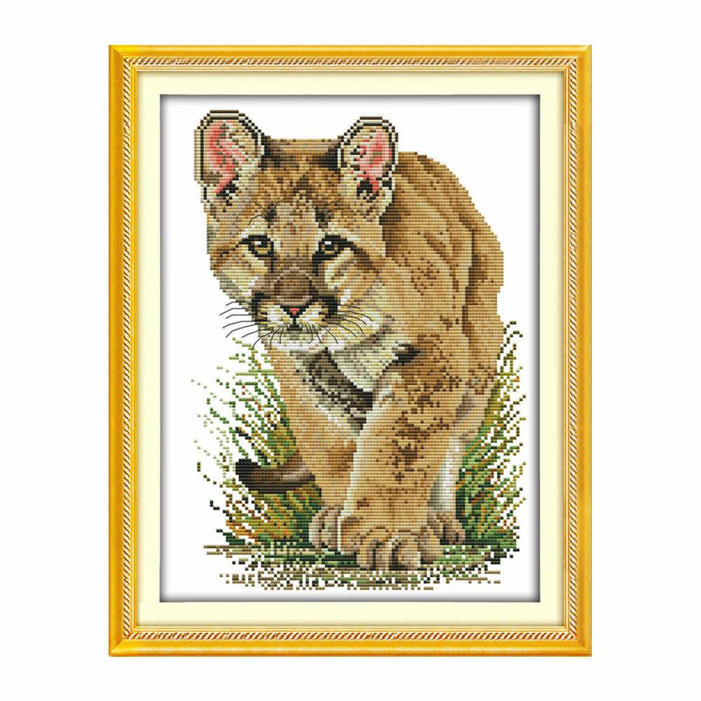 האריה בעלי החיים צלב תפר ערכת DMC צבע כותנה חוט 14ct 11ct לספור הדפסת בד תפרים רקמת DIY בעבודת יד רקמה