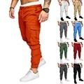 Брюки-карго мужские, джоггеры, спортивные штаны, повседневная мужская спортивная одежда, однотонные брюки-карго со множеством карманов, узк...