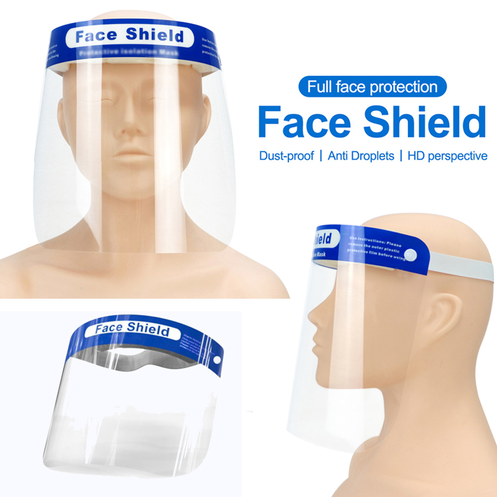 2PCS Anti Virus Safety Full Face Shield Anti-droplet Ffp3 Protective Faceshield Cover Visor Dust Proof Fog Screen Transparent