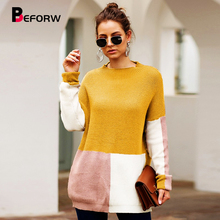 BEFORW 2019 NLW Winter Loose Long Sleeve Sweater Women Autumn Casual Sweater Tops Jumper O Neck Knitted Sweaters Pullover цена 2017
