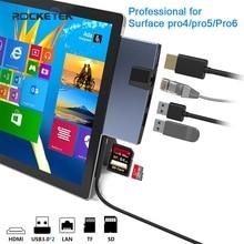 Rocketek usb 3.0 카드 판독기 허브 4K HDMI 100Mbps 이더넷 어댑터 SD/TF micro SD for Microsoft Surface Pro 4/5/6