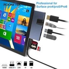 Rocketek usb 3.0 kart okuyucu HUB 4K HDMI 100Mbps Ethernet adaptörü SD/TF mikro SD Microsoft Surface Pro 4/5/6