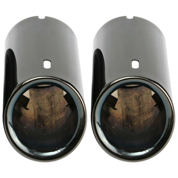 2X Titanium Black Car Exhaust Pipes Tail Tips for BMW E90 E92 325 328I 3 Series image