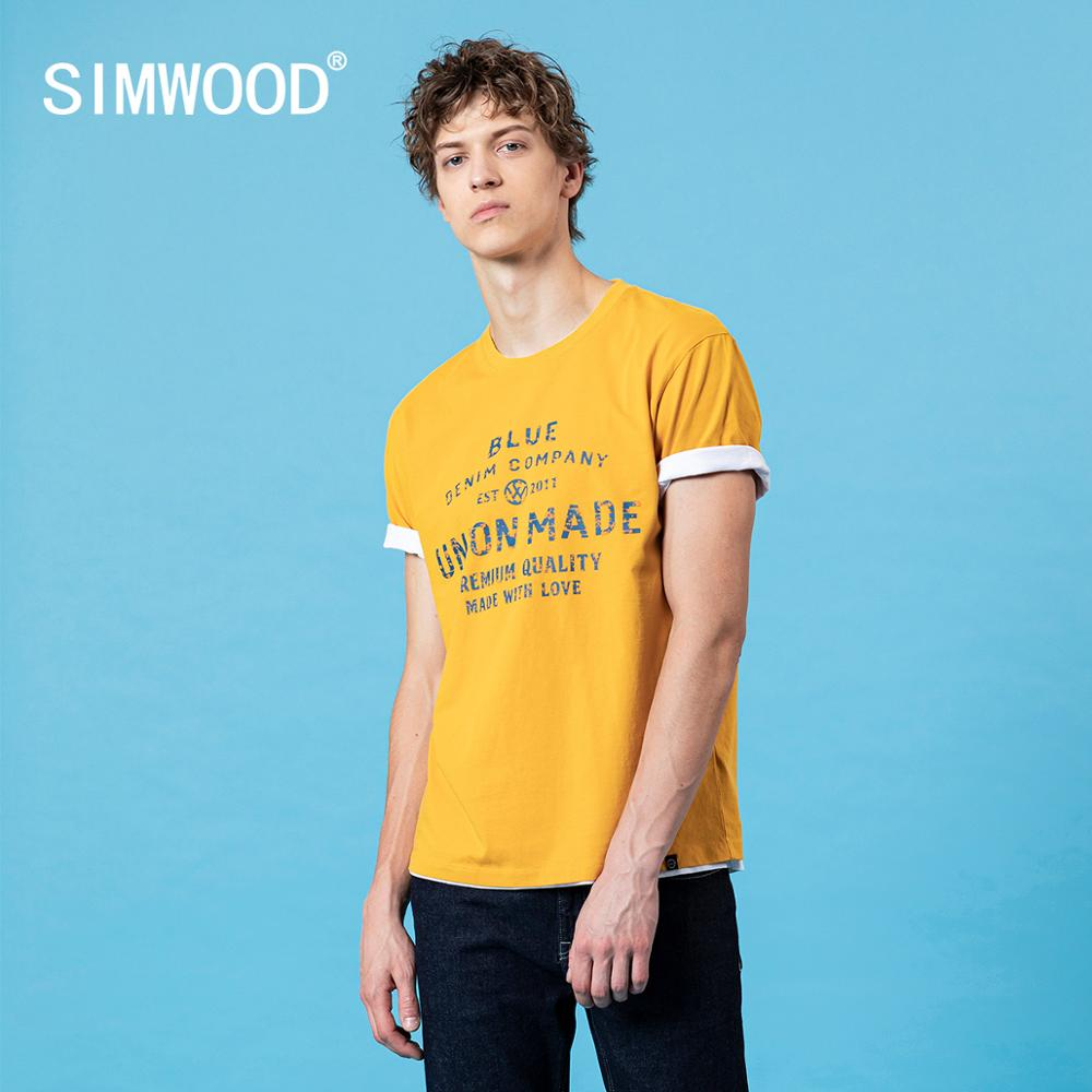 SIMWOOD 2020 Summer New Colorful Letter Print T-shirt Fashion Tops 100% Cotton Tees Plus Size Breathable Brand Clothing SJ130415