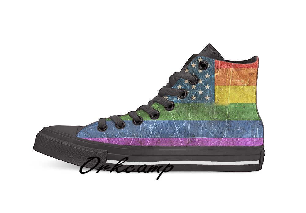 Vintage Aged En Bekrast Gay Pride Regenboog Amerikaanse Vlag Custom Casual Hoge Top Lace-Up Canvas Schoenen Sneakers Drop verzending