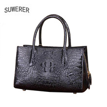 SUWERER New Quality Tote bag women Genuine Leather Bag real cowhide leather shoulder bag women luxury handbags women bags tomubird 2018 new women genuine leather bag handmade embossing flower top cowhide luxury tote women leather shoulder bags