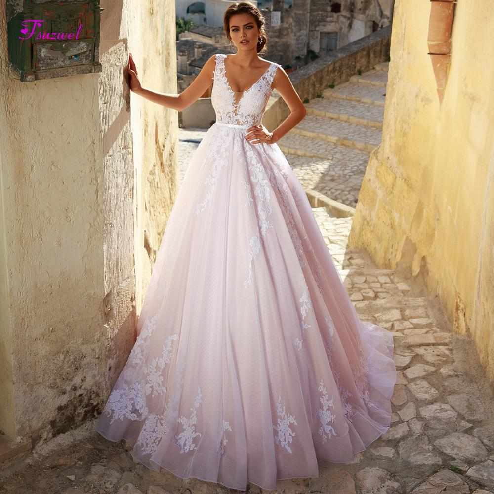 Fsuzwel New Arrival Sexy V Neck Backless A Line Wedding Dresses 2019 Gorgeous Appliques Sweep Train Bridal Gown Vestido de Noiva-in Wedding Dresses from Weddings & Events