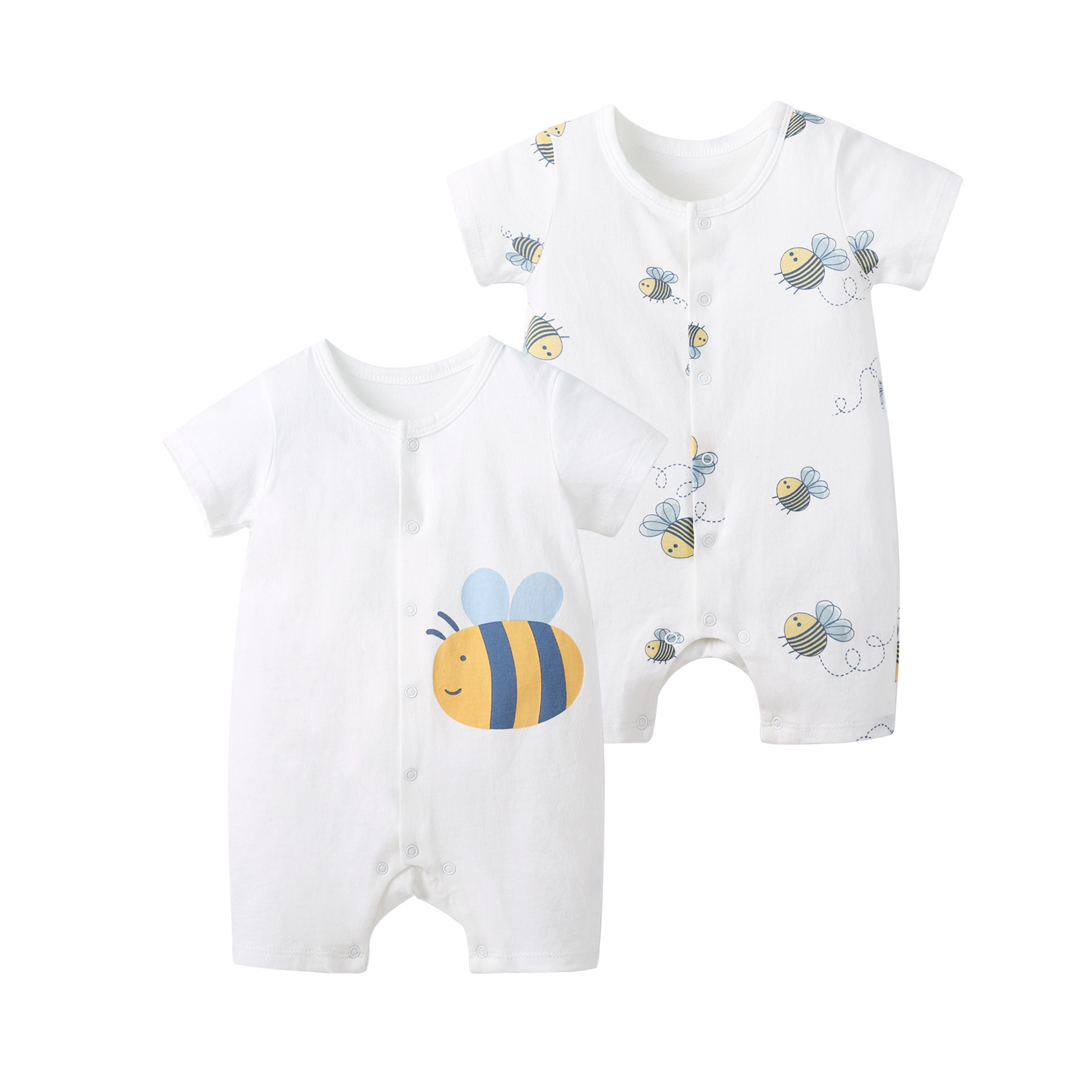 Pureborn 2-Pack Baby Rompers Cartoon Bees Baby Boy Girl Summer Clothes Onesies Pajamas Breathable Cotton Baby Playsuit