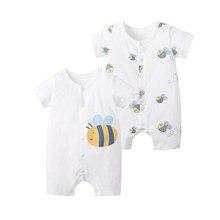 Pureborn macacão infantil, pacote de 2 unidades; macacão de bebês recém-nascidos; roupas de algodão de manga curta para meninos e meninas; pijama de verão playsuit
