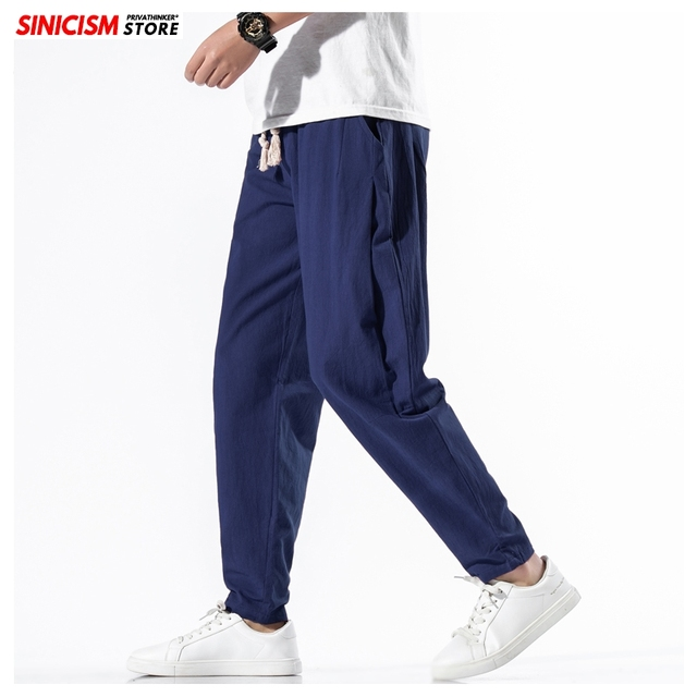 Sinicism Store Solid Spring Harem Pants Men Summer Fitness Jogger Pant 2020 Male Fashion Pants Chinese Style Trousers Bottoms 29