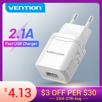 Vention-cargador USB rápido de 5V 2.1A, adaptador de pared para iPhone X, 8, 7, iPad, Samsung S9, S8, Xiaomi Mi8, cargador de teléfono móvil