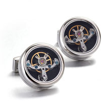 1 Pair Watch Movement Shape Cufflinks Balance Wheel Vintage Steampunk Style Double Lines On The Side Ideal Gift For Man(China)