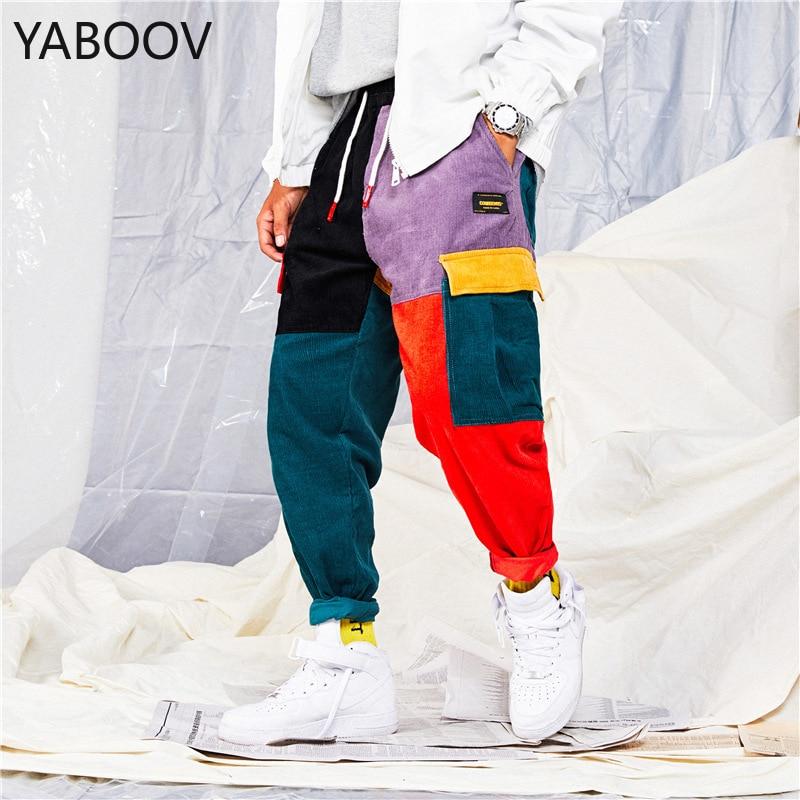 Men Jeans Color Patchwork Cargo Pants Warm Corduroy Homme Hip Hop Joggers Streetwear Pants