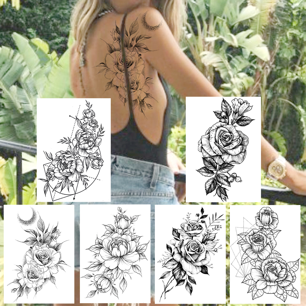 DIY Rose Temporary Tattoos Fake Black Flower Waterproof Tatoos Sticker Women's Fashion Body Art Arm Tatoo For Adult Holiday Show
