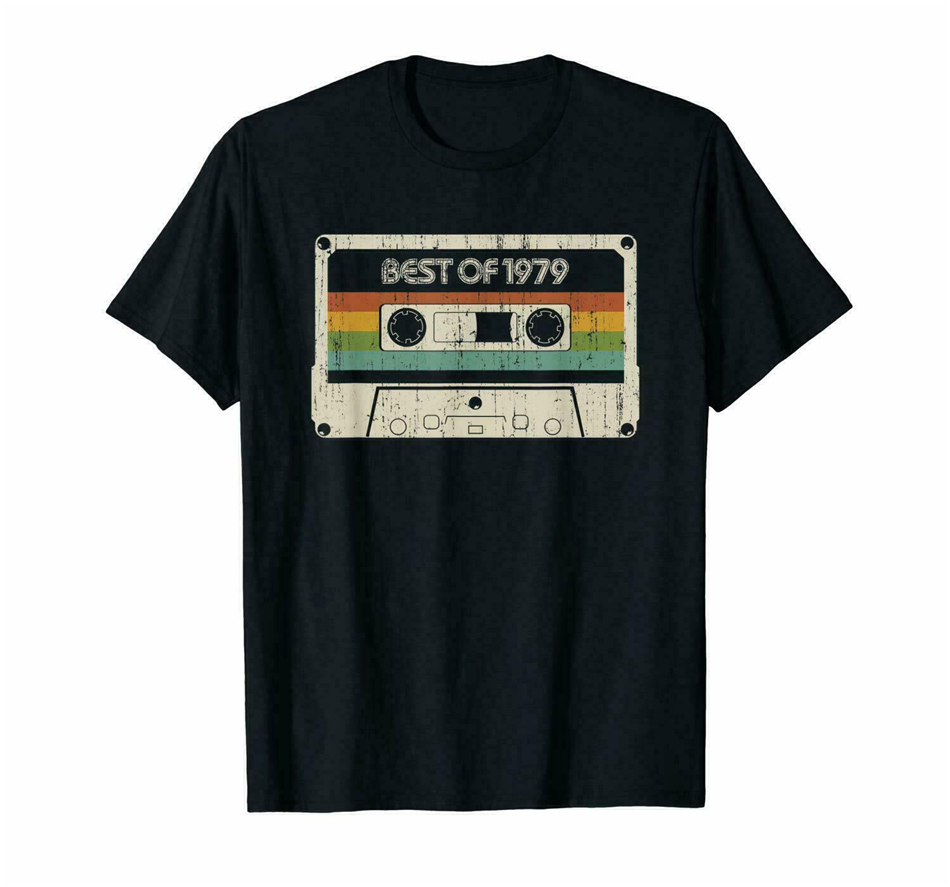 Best Neu ! Black 40 Years Old Made In <font><b>1979</b></font> <font><b>Tshirt</b></font> S-3Xl Round Neck Tee Shirt image
