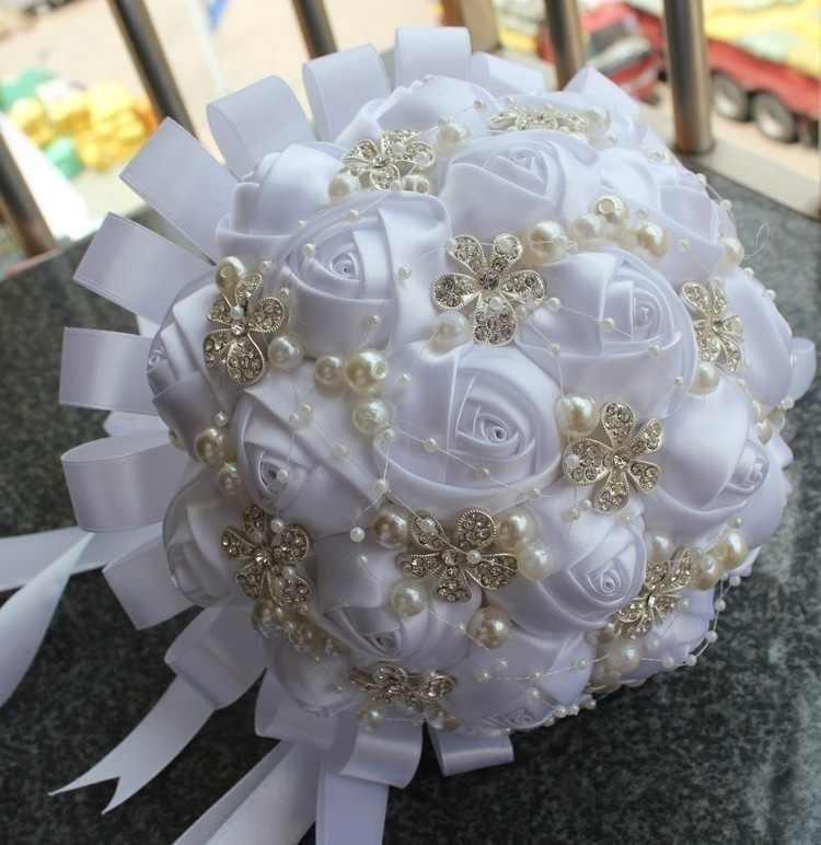 สีชมพูงาช้างแชมเปญซาติน Rose เทศกาล Stitch ช่อริบบิ้นที่กำหนดเองแต่งงานเจ้าสาวดอกไม้สีตัวเลือก