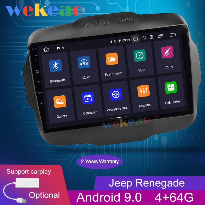 Wekeao Touch Screen 10.1'' Android 9.0 Car Radio Automotivo Car Dvd Player For Jeep Renegade Android Auto GPS Navigation 2015+