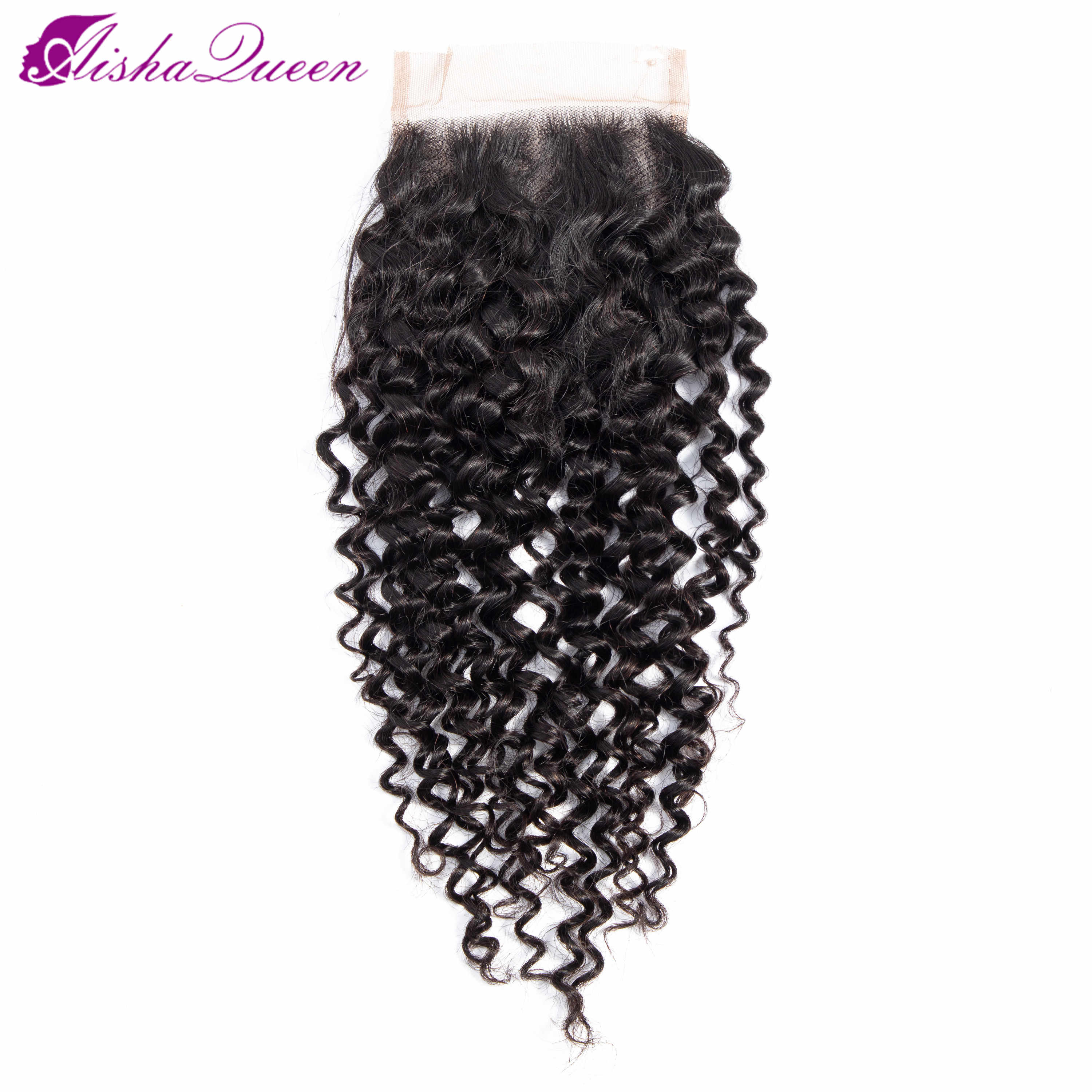 Aisha Queen Kinky Curly Bundles With Closure Human Hair Bundles With Closure Non Remy Brazilian Hair Weave Bundles