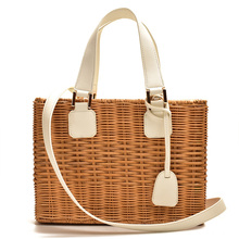 Famous brand women Bamboo straw rattan bag ladies hand leather bags