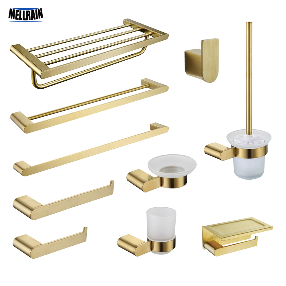Brushed Gold Bathroom Accessories Towel Rack Paper Holder Soap Dish Toilet Brush Towel Bar Tooth Cup Stainless Steel Hardware