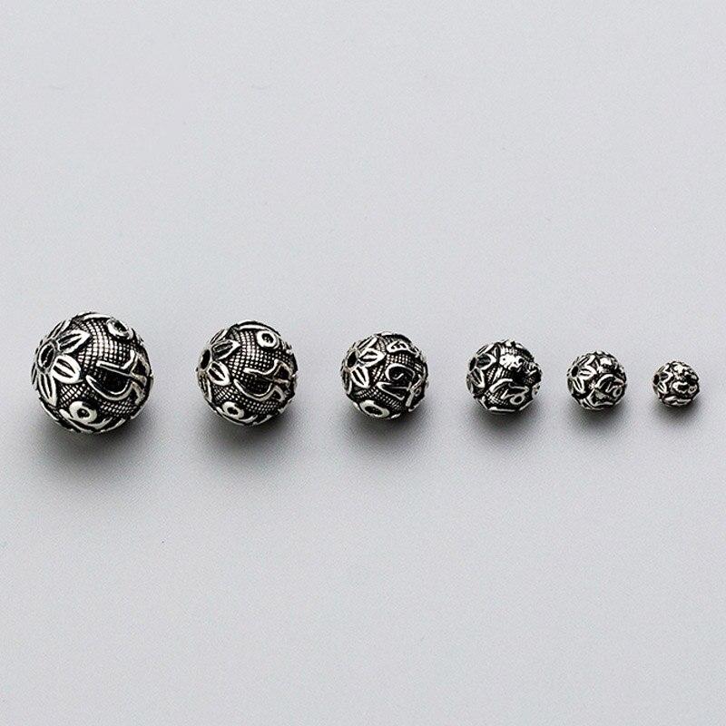 925 argent Sterling artisanat bouddhisme Mantras perles entretoises rondes 6 8 10 12 14 16mm bouddha argent perles breloque bijoux à bricoler soi-même faire