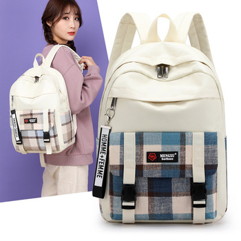 British Plaid Style School Bag For Girls Canvas Women Backpack Large Capacity Fashion Casual Student Schoolbag Female Travel Bag disney mickey mouse backpack canvas soft fabric female pure colour student bag school vintage women girls travel bag gift