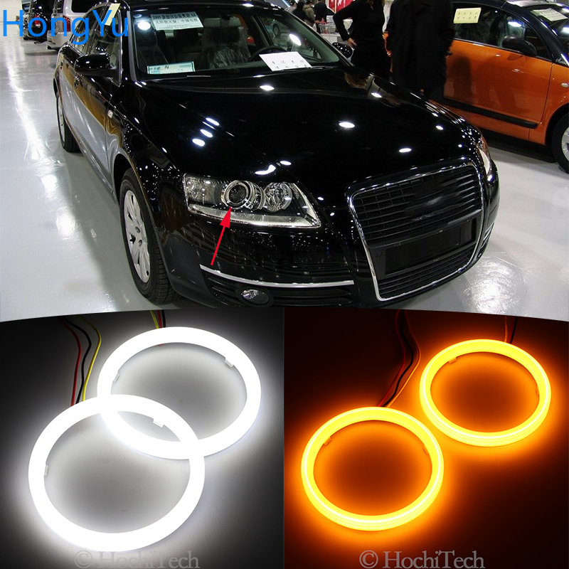 Cotton Switchback LED White Amber Angel Eye Halo Rings DRL turn signal light for Audi A6 S6 RS6 2005 2006 2007 2008 image