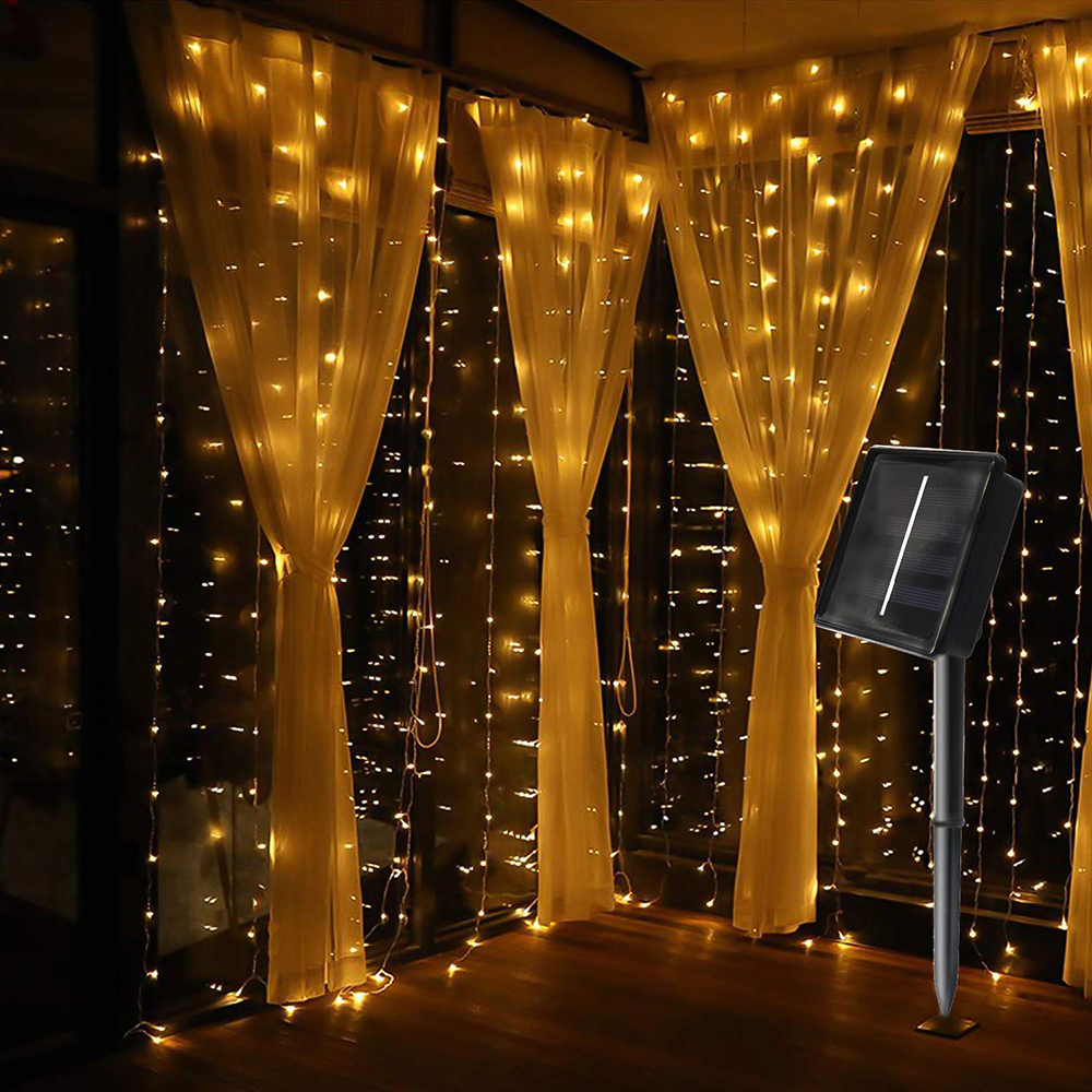 Outdoor 3X2M 3X3M Solar Powered LED Curtain String Lights Waterproof 8 Modes Garden Patio Decorations Lights For Wedding Party