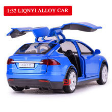 Hot Sell 1:32 Alloy Tesla MODELX90 Metal Toy Car Bring Back Power Flash Childrens Racing Music Best Gift for Boys