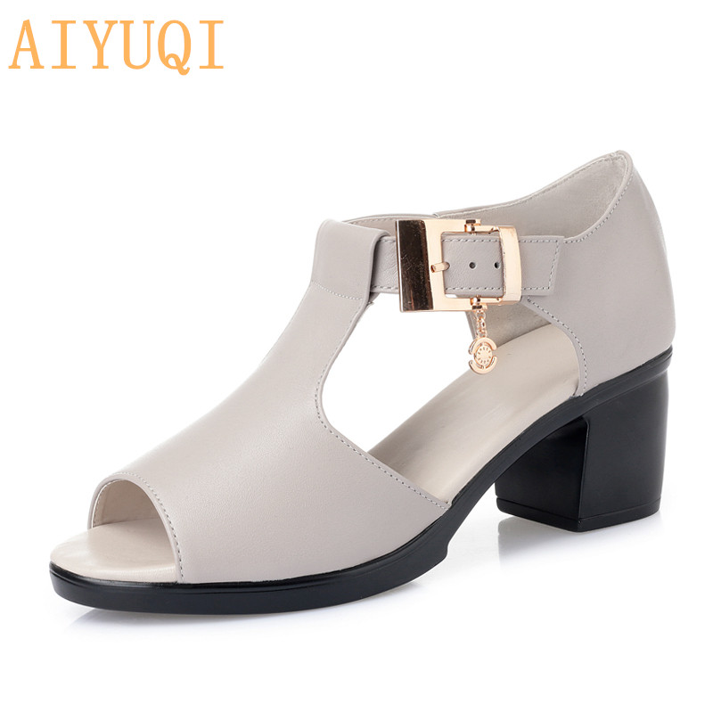 AIYUQI Women Sandals Genuine Leather 2020 Summer Fashion Style Woman Sandals Solid Casual Concise Lady Med Heel Shoes