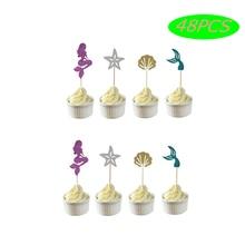 48 шт русалка украшения для кексов хвост ракушка Морская звезда Русалка пики для торта ребенок душ свадьба день рождения поставки торт Декор